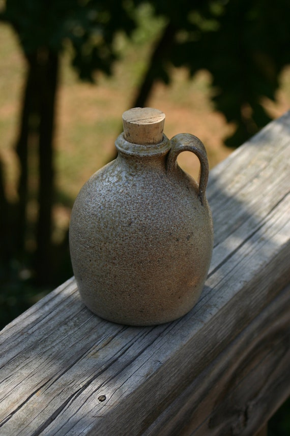 Salt Glazed Pottery  Jug with Cork Stopper  Seagrove, NC