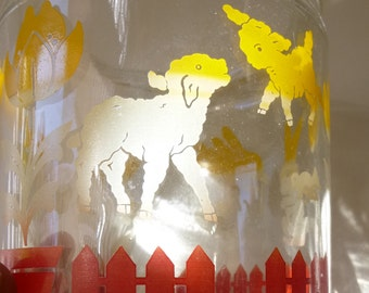 1940's-50's Vintage Glass Jar Canister Children Bunny Baby Nursery Decor