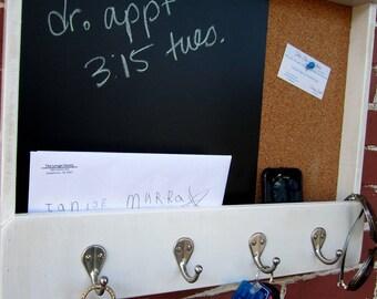 Large Mailholder, Chalk & Cork Board with Keyhooks