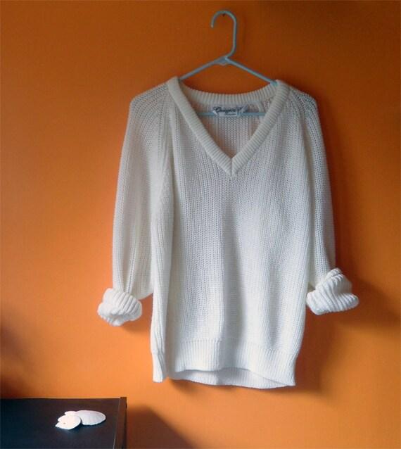 Vintage Slouchy V-Neck/Off Shoulder Sweater - Women's Small/Medium