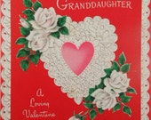 Vintage UNUSED Norcross Valentines Day Card for Granddaughter with Hearts and Roses