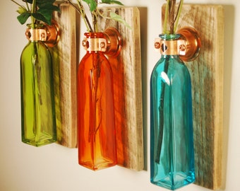 Autumn Bliss Collection of  Square Colored Bottles each mounted on Wood Base for unique rustic wall decor bedroom decor kitchen decor