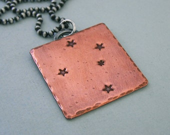 Southern Cross Constellation Necklace - Crux - Hand Stamped Copper and Sterling Silver