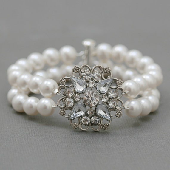 Bridal Wedding Bracelet Cuff,Crystal & Pearl Bracelet,Bridal White Pearls, VICTORIA Collection