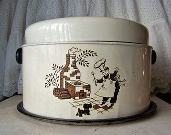 Vintage Cake Carrier Pie Carrier Combo 1950s Backyard Chef Scotty Dog Cake Keeper Cake Pie Saver