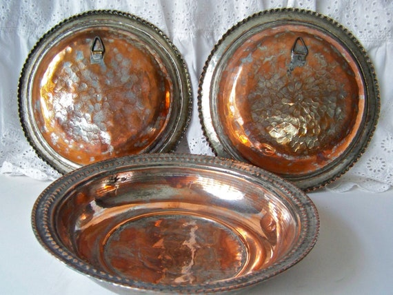 Antique Turkish Copper Hanging Plates Primitive Hand Forged Plates Copper Home Decor Rustic Home Decor