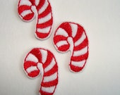 CANDY CANE - 3 Machine Embroidered Felt Embellishments / Appliques - Ready To Ship