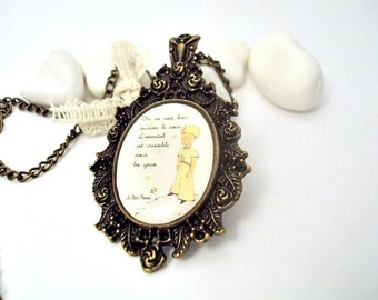 Antique Brass and Resin Necklace, Little Prince-Free Shipping Worldwide