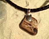 Petrified Wood and Black Braided rubber cord necklace