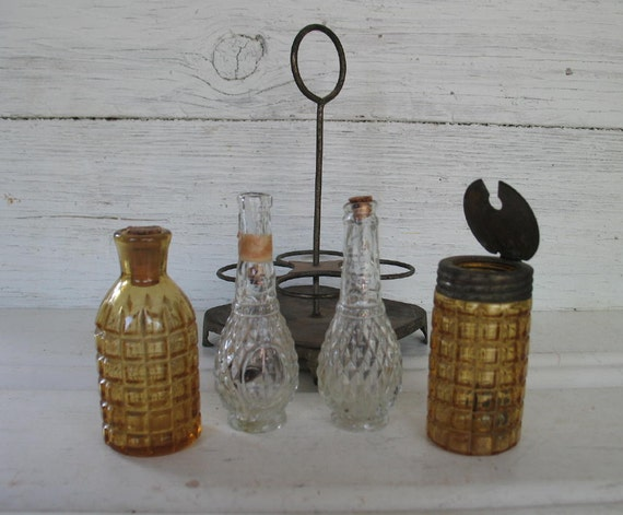 Antique Metal Condiment Caddy Set With Decorative Amber Glass