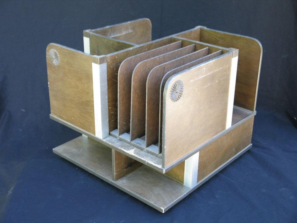 Mid Century Modern Desk Organizer Wood Desk Caddy Lazy Susan