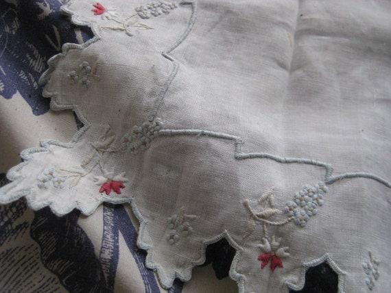 Vintage Cotton White Hankie Napkin Embroidered Blue Red Floral Edge
