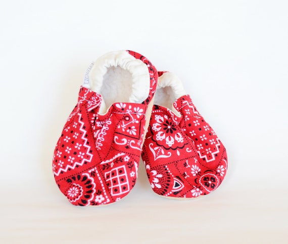 Hanky Bison Booties 6 to 12 Months Size 2-3 Ready to Ship Baby Newborn Shoes cow girl bandana