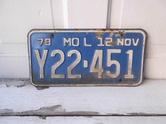 Vintage 1978 Missouri License Plate FREE SHIPPING