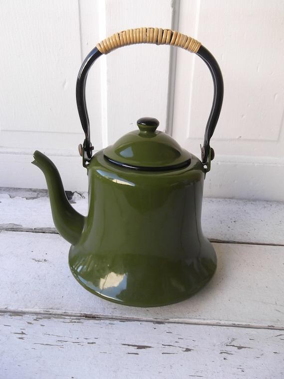 Vintage Enamel Green Tea Kettle