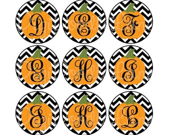 Chevron Pumpkin Monogram Initials Bottlecap Images 1 Inch Circles Bottlecap Hairbow Jewelry Magnet Stickers Chevron Pumpkin INSTANT DOWNLOAD