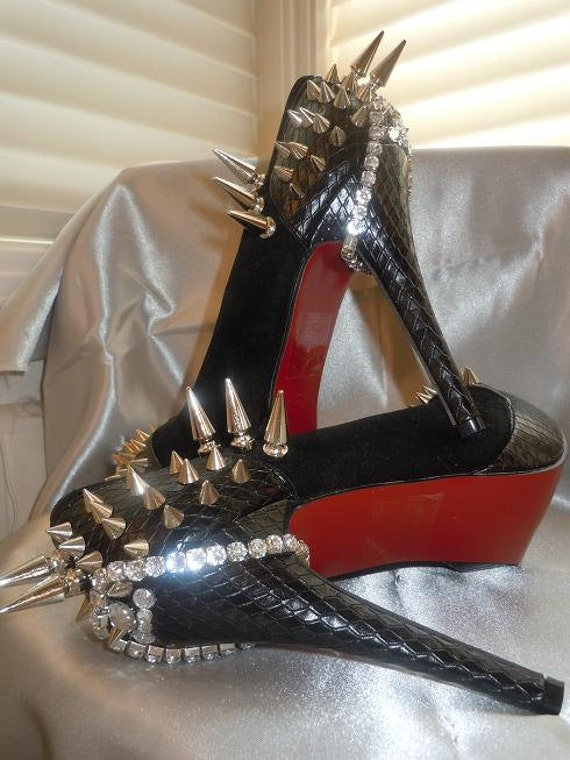 High Heel Platform Spiked Women Shoes Black size 9 Louboutin  Inspired... A SpikesByG Design