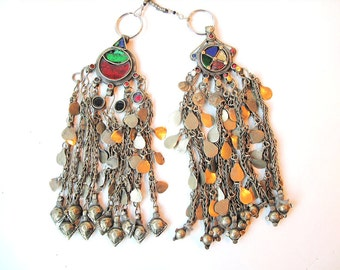 Tribal Metal Tassels with Glass Medallions from Afghanistan, Lariat or Pectoral Temple Jewelry, Vintage Pair