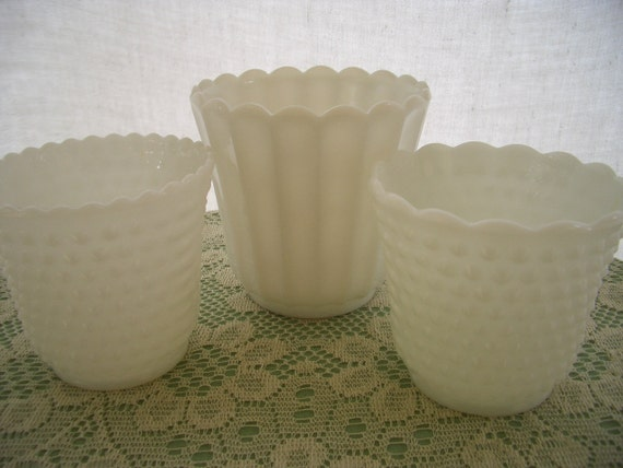 Vintage Milk Glass Planters Pots Jardinieres 3 Piece Instant Collection