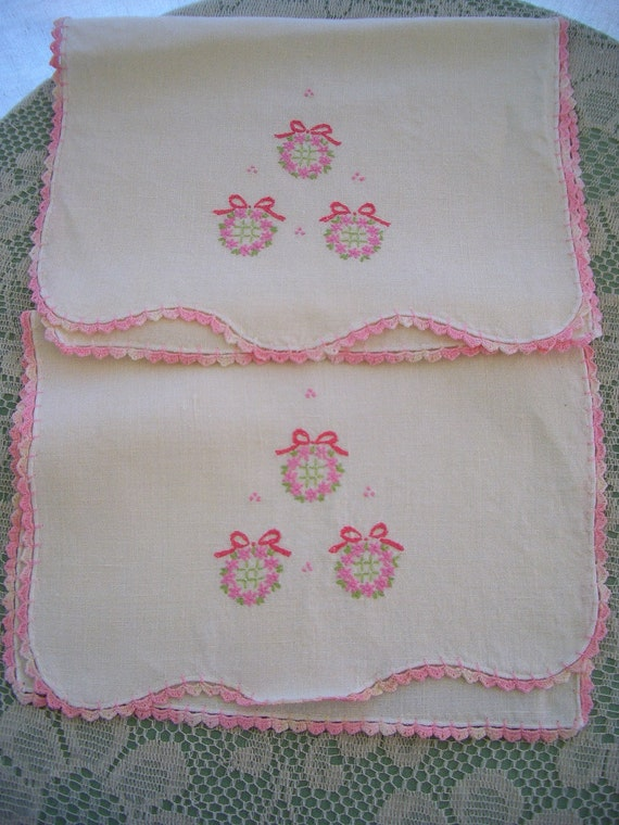 Vintage Linen Towels or Runners White Cotton with Pink Embroidery  2 Pieces