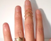Set of 3 stackable Chevron Knuckle Rings Gold Stacking Rings-Above the knuckle