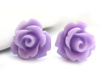 SALE - Lavender Rose Stud Earrings