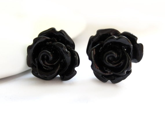SALE - Black Rose Stud Earrings