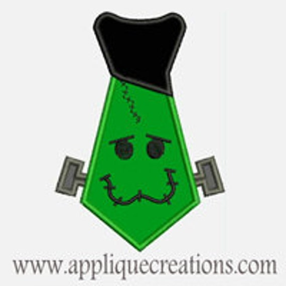 Frankenstein Tie...Embroidery Applique Design...Three sizes for multiple hoops...Item1538.