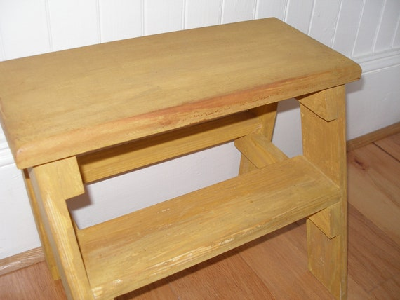 Step stool ladder small yellow distressed wood