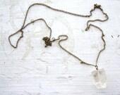 SALE - Clear Crystal Quartz Nugget Necklace