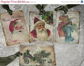 Christmas Sale Vintage Santa Christmas Gift Tags with Glitter and Glitz Set of 4 Assorted