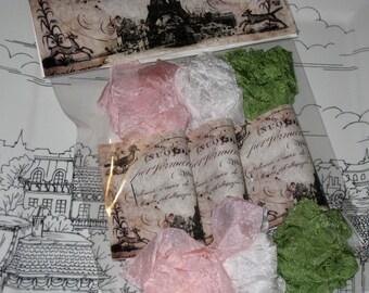 Scrunched Seam Binding ribbon, Crinkled Seam Binding Packaged Sherbert Delight ECS