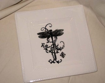 Soap Dish, Hand Designed Soap Dish, Dragonfly Image Style Hand Designed Tidbit Trinket Soap Dish ECS