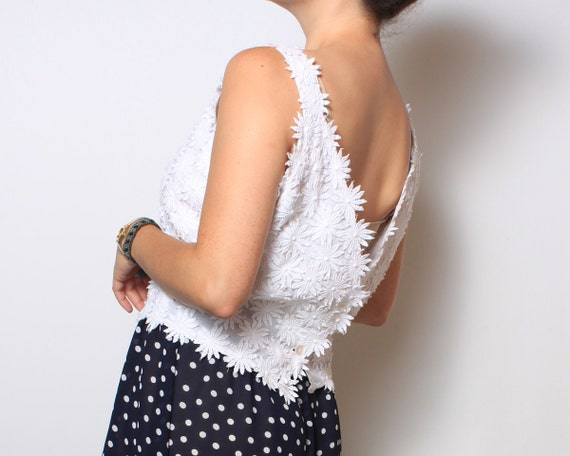 Retro Tank Top with Floral Applique in Bright White - medium med large lg