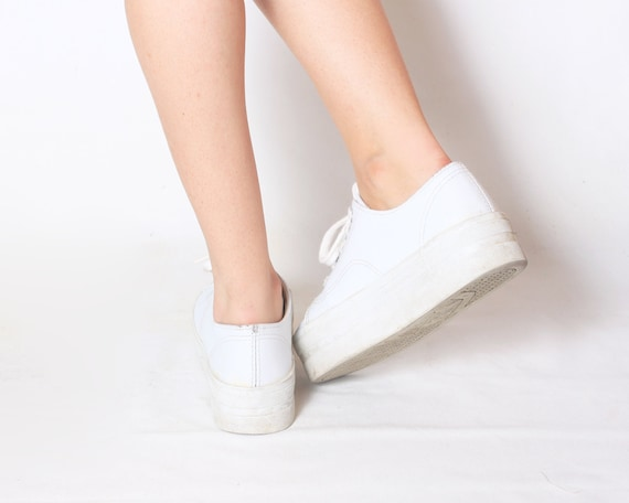 Leather Platform Runners Flatform Shoes - size 6.5 / 37