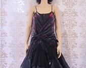 Party Dress Handmade Holiday Fashion Cocktail Dress Evening Dress Clothing Women : Black Silk Drape Tutu Dress