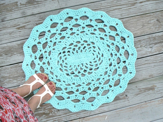 Cotton Oval Lace Thick Doily Rug No Slip Grip All Purpose Mat Crocheted in Light Aqua or Pick Your Color