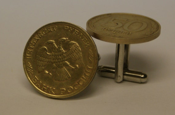Russia 50 Rubles Coin Cufflinks  FREE Gift Bag cuff links by findstotreasure