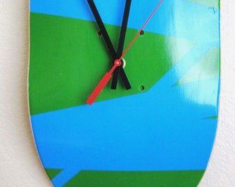 Blue and Green Strips Maple Skateboard Clock --READY TO SHIP--