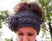 Crochet Headband, Crochet Ear Warmer with Flower. Style: Mia. Fall and Winter. Size teen-adult