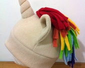 Beige Rainbow Unicorn Hat colorful great for Costume Cosplay Convention or Gift for geeky nerdy or cute fashion Lovers Pride