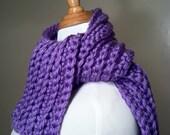 Purple Ribbed Crochet Scarf