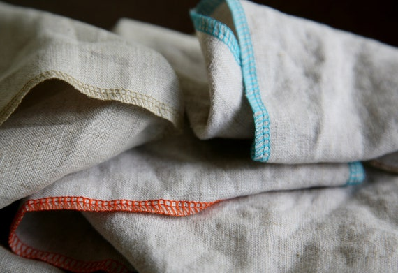 8 Natural Linen Napkins - Pure Linen Eco Cloth, Oatmeal w/Wide Stitch // Choice of Single Accent Color