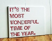 11X14 Canvas Sign, Holiday Sign, Christmas Decoration, Gift, It's the Most Wonderful Time of the Year, Red and White