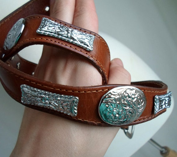Brown & Silver Tone Leather Belt