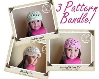 Crochet Pattern - 18 Inch Doll 3 Hat Pattern Bundle (Seabreeze, Laced With Love, Newsboy Hat)
