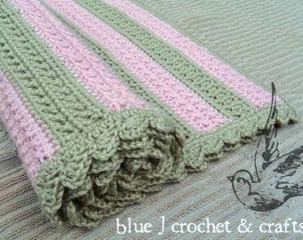 Crochet Pattern - Cross My Heart Baby Blanket, Striped Baby Blanket For Boys or Girls