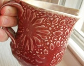 Lace Mug in Dark Red-Pink with White Interior, Textured with Vintage Lace