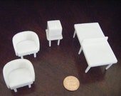 4 pc. white Superior Plastic vintage rec room set-FREE SHIPPING