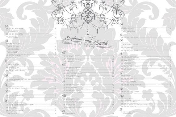 Vintage damask wedding seating chart with chandelier pink grey - 24 hour turnaround